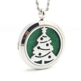 RTD-3861 - Christmas Tree Aromatherapy Essential Oils Diffuser Stainless Steel Locket Necklace