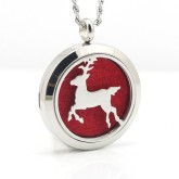 RTD-3863 - Christmas Reindeer Aromatherapy Essential Oils Diffuser Stainless Steel Locket Necklace