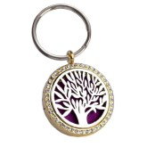 RTD-3884 - Essential Oils Locket Keyring Key Chain Silver Tree Golden Frame