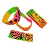 RTD-3919 - Zoo Animal Rainbow Safari Print Wide Rubber Bracelets