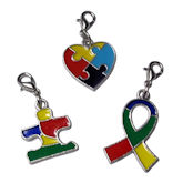 RTD-3935 - Autism Awareness 3-Piece Heart Ribbon Puzzle Charms Set