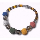 RTD-3981 - Lava Bead Essential Oils Fall Colors Bracelet with Glass Beads