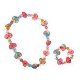 RTD-4001 - Child's Flowery Heart Bead Necklace and Bracelet Set
