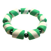 RTD-4005 - Green and White Stretchy Christmas Candy Cane Bracelet