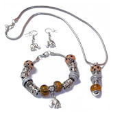 RTD-4021 - Safari Jungle Theme Necklace Bracelet Earring Set w/ Elephant Charm