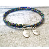 RTD-4025 - Tiny Bead Memory Wire Live Love Name Plate Bracelet