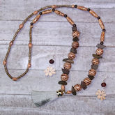 RTD-4037 - Wooden Beaded Tassel Fall Necklace and Earrings Set