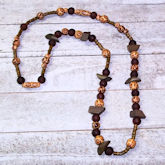 RTD-4039 - Fall Necklace w/ Brown Wood Beads and Frosted Glass Beads