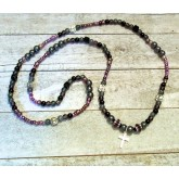 RTD-4043 - Cross Hematite Star/Moon Bead Stretch Necklace / Multiwrap Bracelet