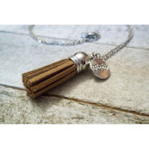 RTD-4048 - Essential Oils Diffuser Suede Fall Tassel Charm Necklace