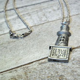 RTD-4054 - Jesus is the Light Lighthouse Charm Necklace