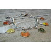 RTD-4056 - Fall Pumpkin Leaf Candy Corn Charm Bracelet