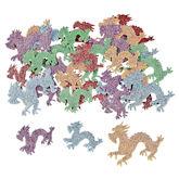 RTD-4079 - 100-Pack of Glitter Dragon Foam Shapes Stickers