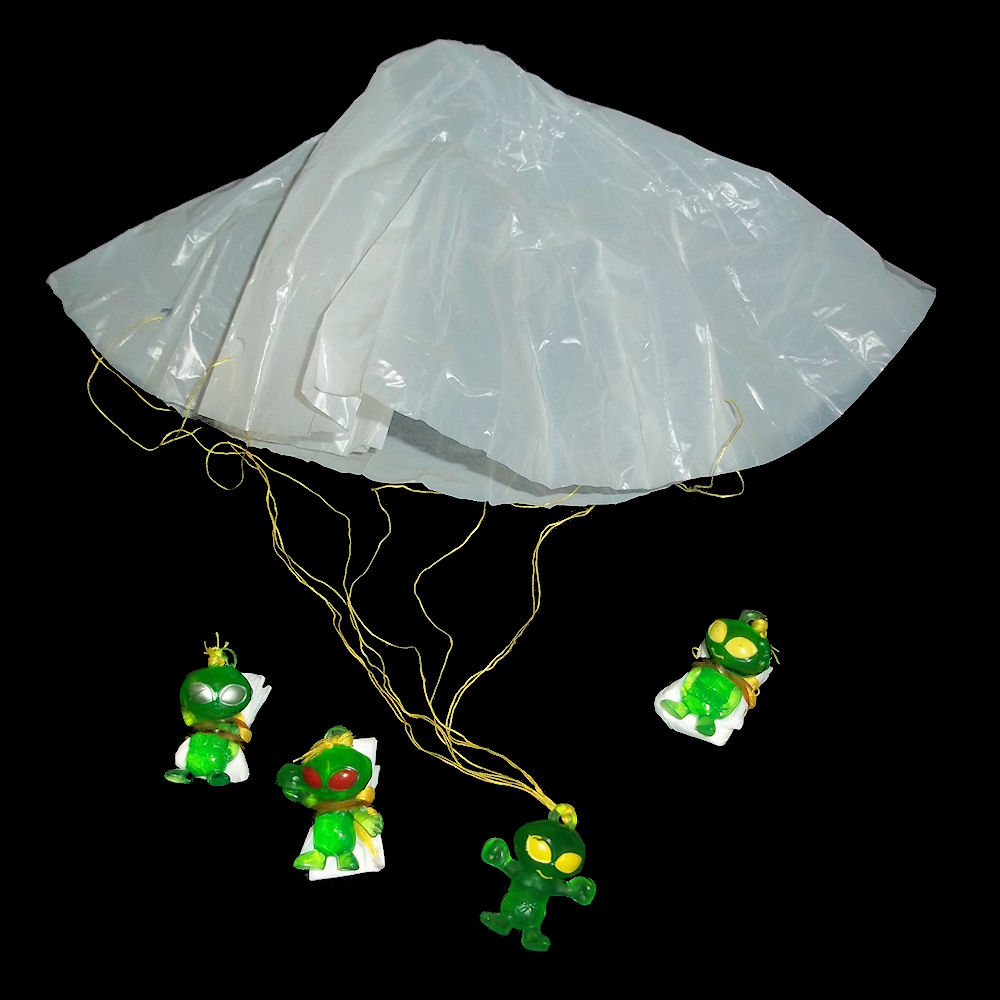 green alien paratroopers parachute space aliens