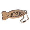RTD-1259 - Jesus Wood Fish Symbol Ichthys Christian Key Chain