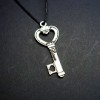 RTD-2706 - Love Heart Key Charm 24 inch Adj. Cord Necklace