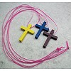 RTD-2716 - 3-pack Wooden Cross Necklaces - Yellow, Blue, Purple