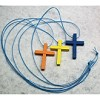 RTD-2722 - 3-pack Wood Cross Necklaces - Orange, Yellow, Blue