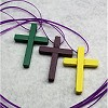 RTD-2723 - 3-pack Wooden Cross Necklaces - Green, Purple, Yellow