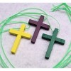 RTD-2725 - 3-pack Wooden Cross Necklaces - Yellow, Purple, Green