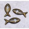 RTD-2744 - Christian Fish Symbol Ichthys Metal Charm Antique Brass Finish