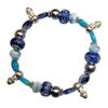 RTD-2775 - Blue Lampwork and Crystal Beads Winter Bracelet with Snowmen