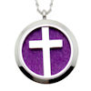 RTD-3624 - Christian Cross Aromatherapy Essential Oils Diffuser Stainless Steel Locket Necklace