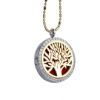 RTD-3652 - Essential Oils Diffuser Tree Locket Necklace Gold on Silver w/ Rhinestones