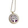 RTD-3653 - Essential Oils Aromatherapy Tree Locket Necklace Silver on Gold