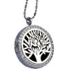 RTD-3654 - Essential Oils Aromatherapy Tree Locket Necklace Rhinestone Silver