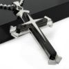 RTD-3672 - Stainless Steel Black Cross Pendant Necklace