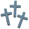 RTD-3688 - Hematite Stone Cross Pendant Charms