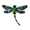 RTD-3984 - Blue Green Rhinestone Crystal Dragonfly Brooch Pin