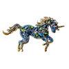 RTD-3986 - Blue Green Rhinestone Crystal Unicorn Brooch Pin