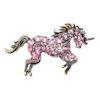 RTD-3987 - Pink White Rhinestone Crystal Unicorn Brooch Pin