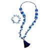 RTD-4002 - Blue Blustery Winter Snowflake Tassel Necklace and Bracelet Set