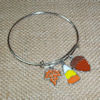 RTD-4011 - Fall Leaf Charm Adjustable Bangle Bracelet w/ Candy Corn and Acorn