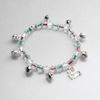 RTD-4012 - Silver Bells Bracelet w/ Festive Christmas Colors and Jingle Bell Charm