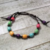 RTD-4028 - Wood Bead Satin Knotted Fall Corded Bracelet