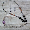 RTD-4034 - Tassel Long Beaded Chain Necklace and Earring Set