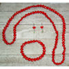 RTD-4036 - Heart Beaded Jewelry Set Necklace, Earrings and Bracelet