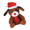 RTD-4075 - Plush Christmas Brown Puppy Dog with Santa Hat