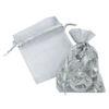 RTD-4086 - Silver Organza Drawstring Mini Gift Bags
