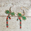 RTD-4104 - Candy Cane and Green Bow Charms Earrings Set